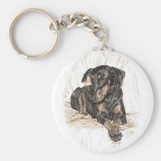 Oídos naturales del perro del Doberman para las Llavero Redondo Tipo Pin
