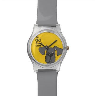 Oídos naturales negros de great dane - la tabla relojes de pulsera