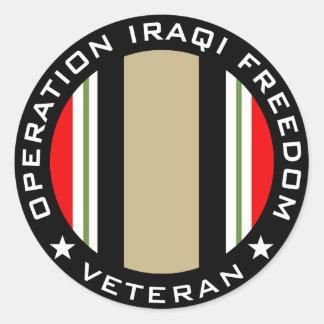 OIF Veteran Classic Round Sticker