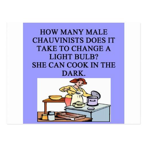 oig el chauvinista masculino que cocina chiste tarjeta postal