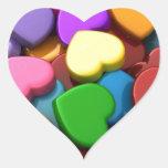 Oiga el caramelo calcomania de corazon