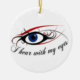 Oigo con mi oranment del navidad de los ojos adorno navideño redondo de cerámica