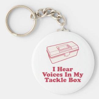 Oigo voces en mi caja de aparejos llavero redondo tipo pin