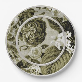 OIive Green Floral Toile No.1 Paper Plate