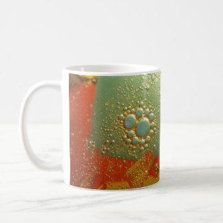 oil and water, blue and yellow mug