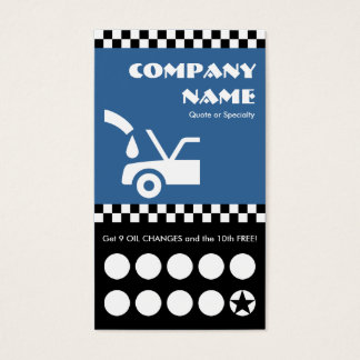 oil change checkers punchcard business card