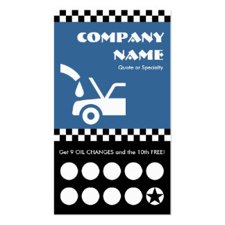 oil change checkers punchcard Double-Sided standard business cards (Pack of 100)