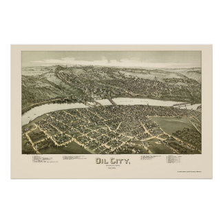 Oil City, PA Panoramic Map - 1896 Poster