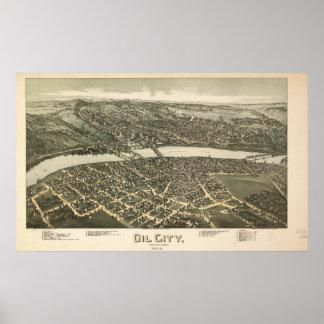 Oil City Pennsylvania 1896 Antique Panoramic Map Poster