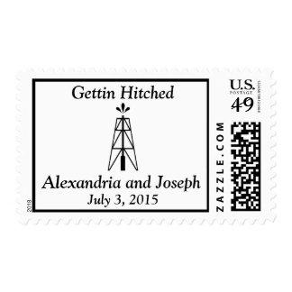 Oil Derrick Wedding   Gettin Hitched Postage Stamp
