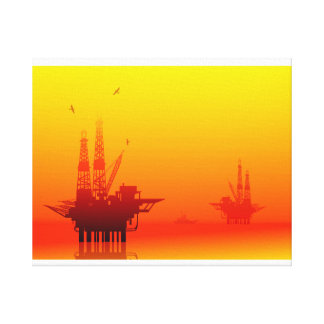 OIL DRILLING RIG AND SUNSET CANVAS PRINT