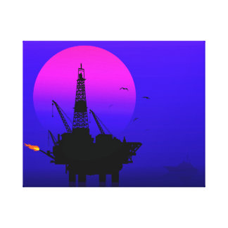 OIL DRILLING RIG AT EVENING SUN SET TIME CANVAS PRINT