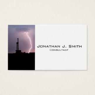Oil Drilling Rig, Lightning Sunrise Business Card
