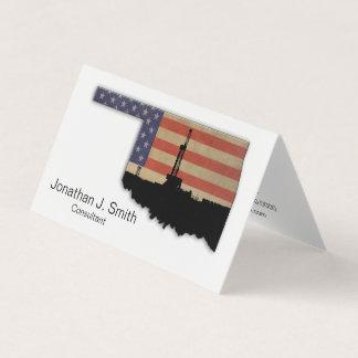 Oil Drilling Rig, Oklahoma, Stars, Stripes Business Card