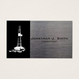 Oil Drilling Rig Silhouette, Metal Look Business Card