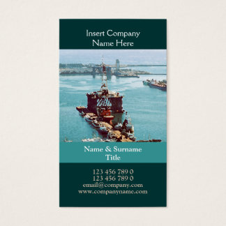 Oil drilling rig watercolor customizable business card