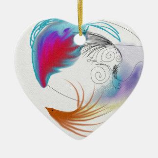 Oil Feathers Ceramic Ornament