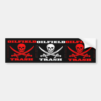 Oil Field Trash Bumper Sticker,Skull,Swords,Biker Bumper Sticker