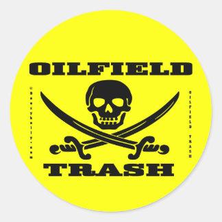 Oil Field Trash Hard Hat Sticker,Skull,Bones,Oil Classic Round Sticker