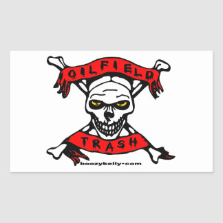 Oil Field Trash,Skull & Crossbones,Biker,Oil,Gas Rectangular Sticker