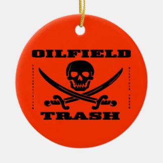 Oil Field Trash,Skull & Crossbones,Oil,Gas,Rigs Double-Sided Ceramic Round Christmas Ornament