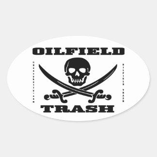 Oil Field Trash,Skull & Crossbones,Oil,Gas,Rigs Oval Stickers
