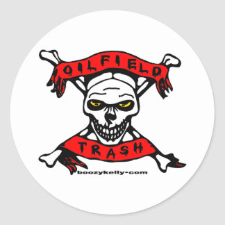 Oil Field Trash Skull Sticker,Oil,Roughneck Classic Round Sticker