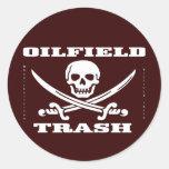 Oil Field Trash Sticker,Skull And Crossbones,Oil Classic Round Sticker