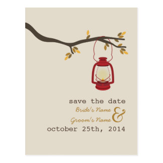 Oil Lamp Camping Fall Wedding Save The Date Post Card