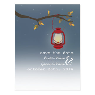 Oil Lamp Evening Outdoor Fall Save The Date Postcard