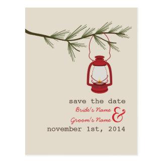 Oil Lamp Evergreen Tree Wedding Save The Date Postcard