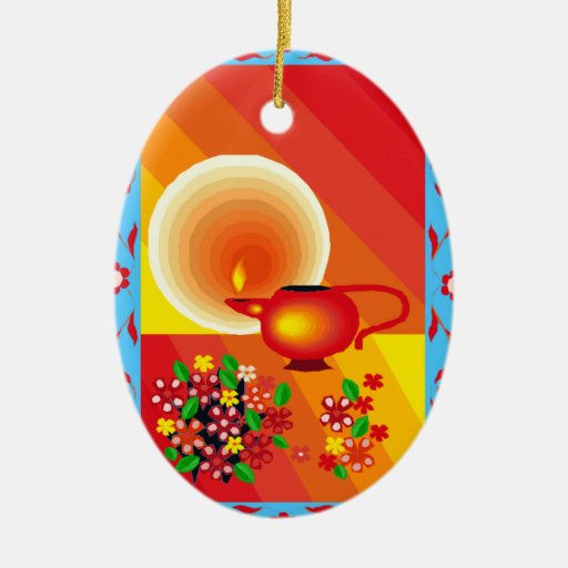 Oil lamp Double-Sided oval ceramic christmas ornament