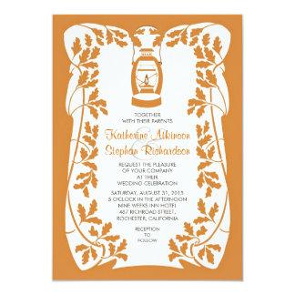 """Oil Lantern and Oak Tree Leaves Wedding Invitation 5"""" X 7"""" Invitation Card"""
