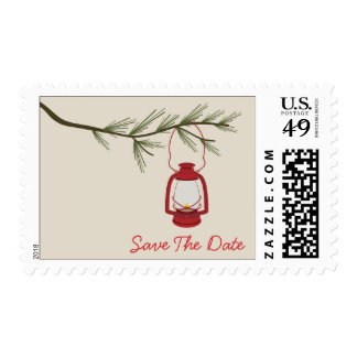 Oil Lantern Evergreen Tree Camping Save The Date Postage