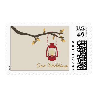 Oil Lantern Outdoor / Camping Fall Wedding Postage Stamp