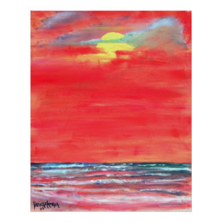 oil modern beach painting art print abstract