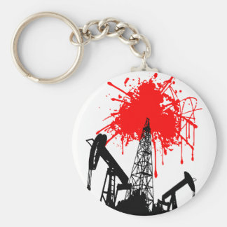 Oil of blood basic round button keychain