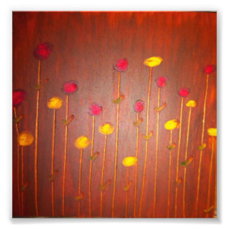 """Oil on Birch 1"" floral design by LeanneSari. Photo Print"