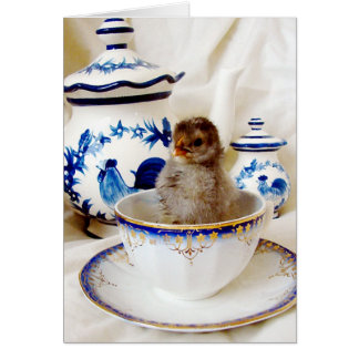 Oil Paint Effect Chick and Tea Cup, Easter Card