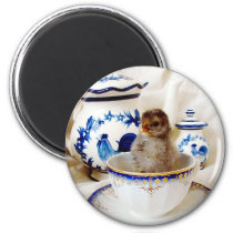 Oil Paint Effect Chick and Tea Cup In Studio Magnet