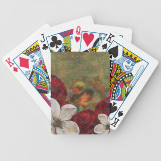 Oil Paint Vintage Woman Flowers Bicycle Playing Cards
