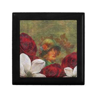 Oil Paint Vintage Woman Flowers Gift Box