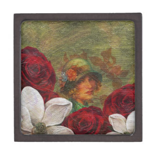 Oil Paint Vintage Woman Flowers Keepsake Box