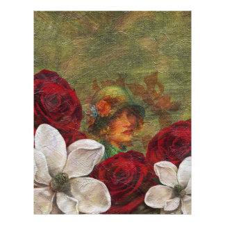 Oil Paint Vintage Woman Flowers Letterhead