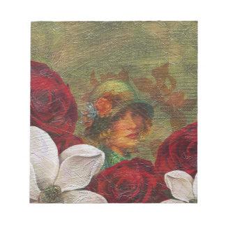 Oil Paint Vintage Woman Flowers Notepad