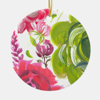 Oil painted flowers Pink and green painted flower Ceramic Ornament