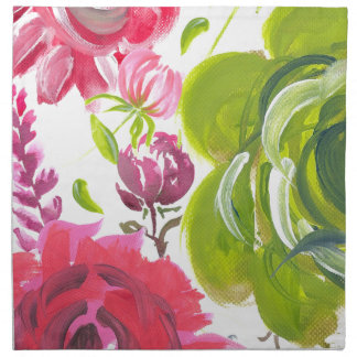 Oil painted flowers Pink and green painted flower Printed Napkins