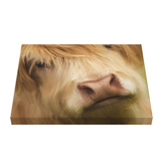 Oil Painted Highland Cow Canvas Print