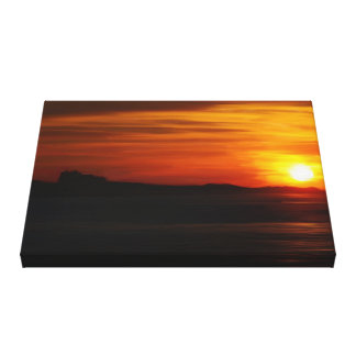 Oil Painted Sunset Over Bamburgh Castle Canvas Print