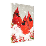 Oil Painted Winter Red Cardinals Canvas Print